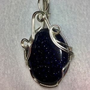 Blue Goldstone in Sterling Silver Plated Wrap
